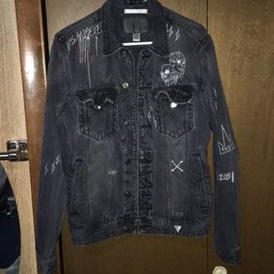 RARE Black guess denim jacket